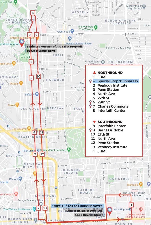 JHMI Shuttle ballot box map